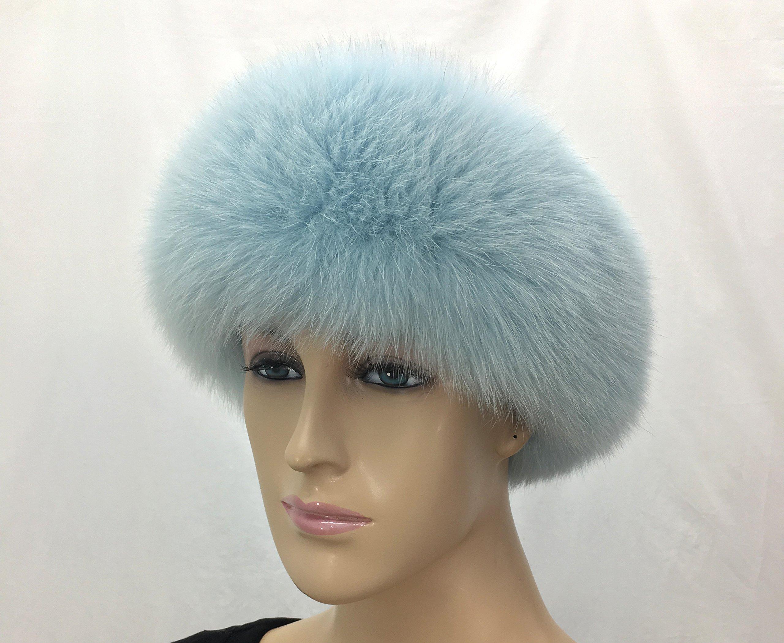 HIMA 100% Real Fox Fur Headband (Light Blue) by Hima (Image #2)