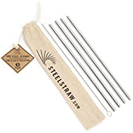 Metal Straws - 4 Reusable Stainless Steel Straws w/Cleaning Brush in Cloth Bag - Straight Straw fits 20 oz Tumblers - Yeti Cup, Hydro Flask Cup, RTIC, Ozark, MalloMe Cups