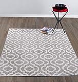 """Diagona Designs Contemporary Moroccan Trellis Design 5 by 7 Area Rug, 63"""" W x 87"""" L, Grey & Ivory"""