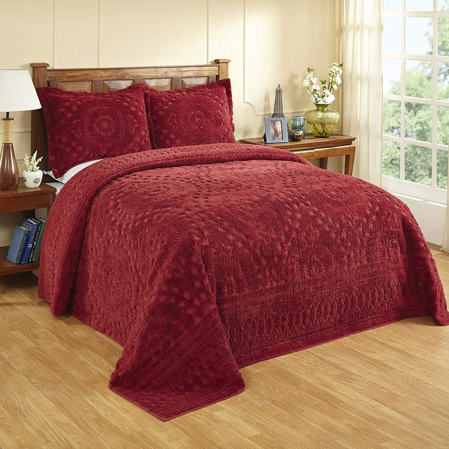 Better Trends Rio Collection in Floral Design 100% Cotton Tufted Chenille, King Bedspread, Burgundy