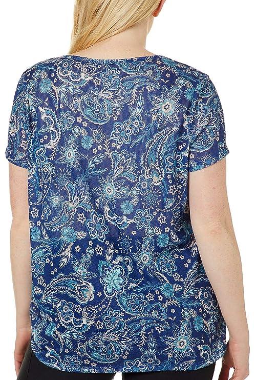 d11dd2e384b33 Dept 222 Plus Floral Paisley Side Tie Top at Amazon Women s Clothing store