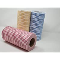 R TEE NON WOVEN KITCHEN TOWEL ROLL WIPES - 240 PULLS (PACK OF 3 MULTICOLOR)