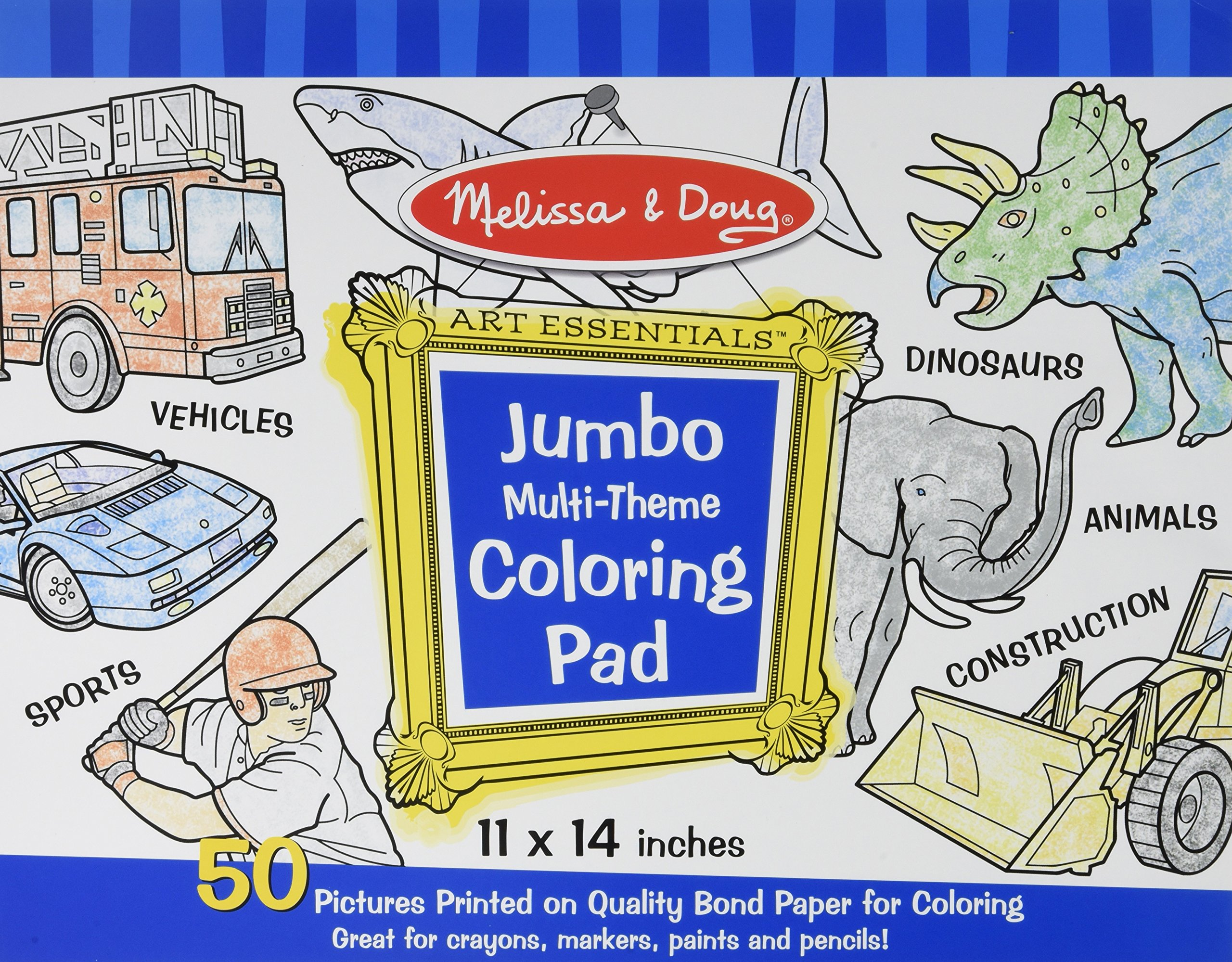 Jumbo Multi-theme Coloring Pad - Blue Coloring Book (Melissa & Doug ...