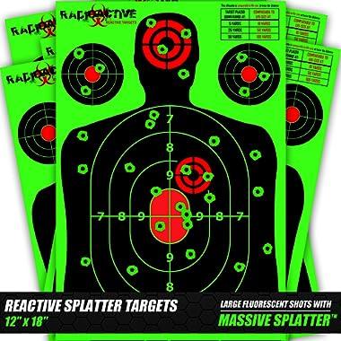 10, 25, and 50 Pack Splatter Targets | 12 x 18 Inch Reactive Targets | Largest Splatter Effect Gun Target Range Targets For Pistols Rifles Handguns and Shotguns