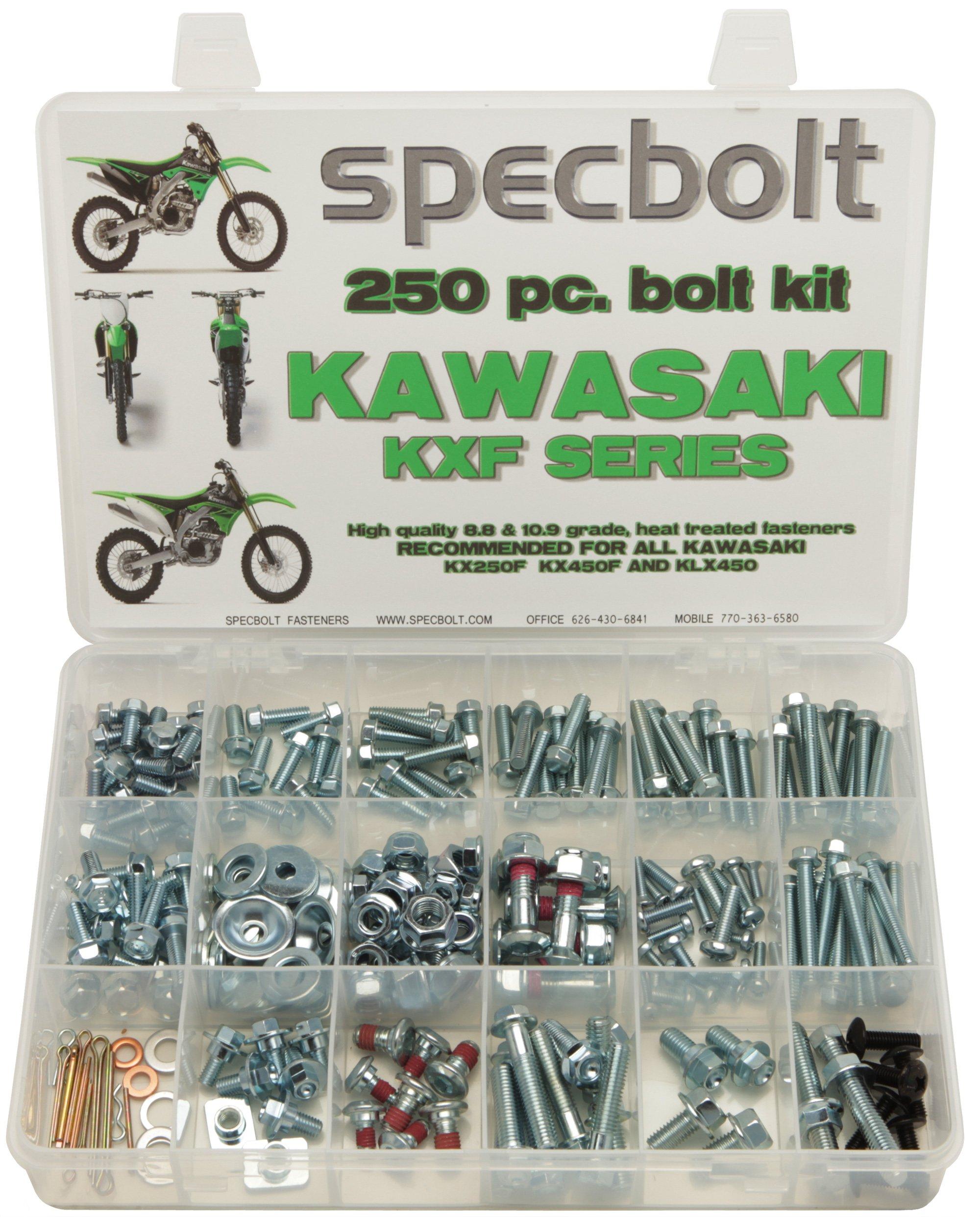 250pc Specbolt Kawasaki KXF 250 450 four stroke Bolt Kit for Maintenance & Restoration of MX Dirtbike OEM Spec Fastener KX250F KX450F KXF250 KXF450
