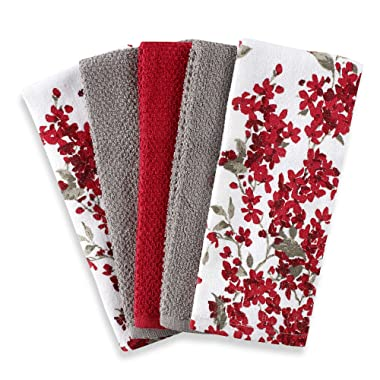 Cherry Blossom 5-Pack Kitchen Towel Set in Red/White | Each Towel Measures 16  L x 26  W