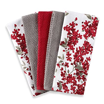 cherry blossom 5 pack kitchen towel set in redwhite each towel measures - Kitchen Towel Sets
