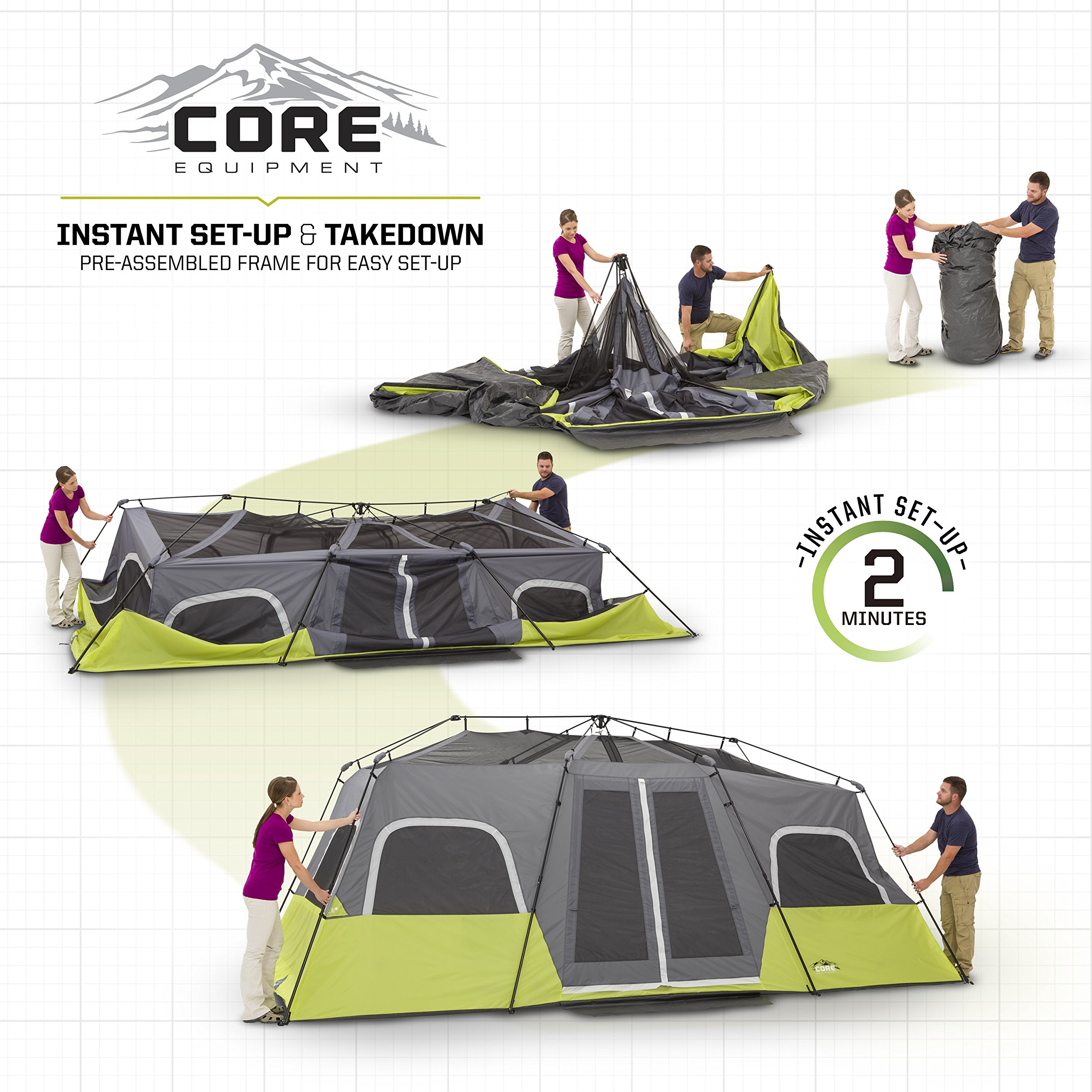 CORE 12 Person Instant Cabin Tent - 18' x 10' by CORE (Image #3)