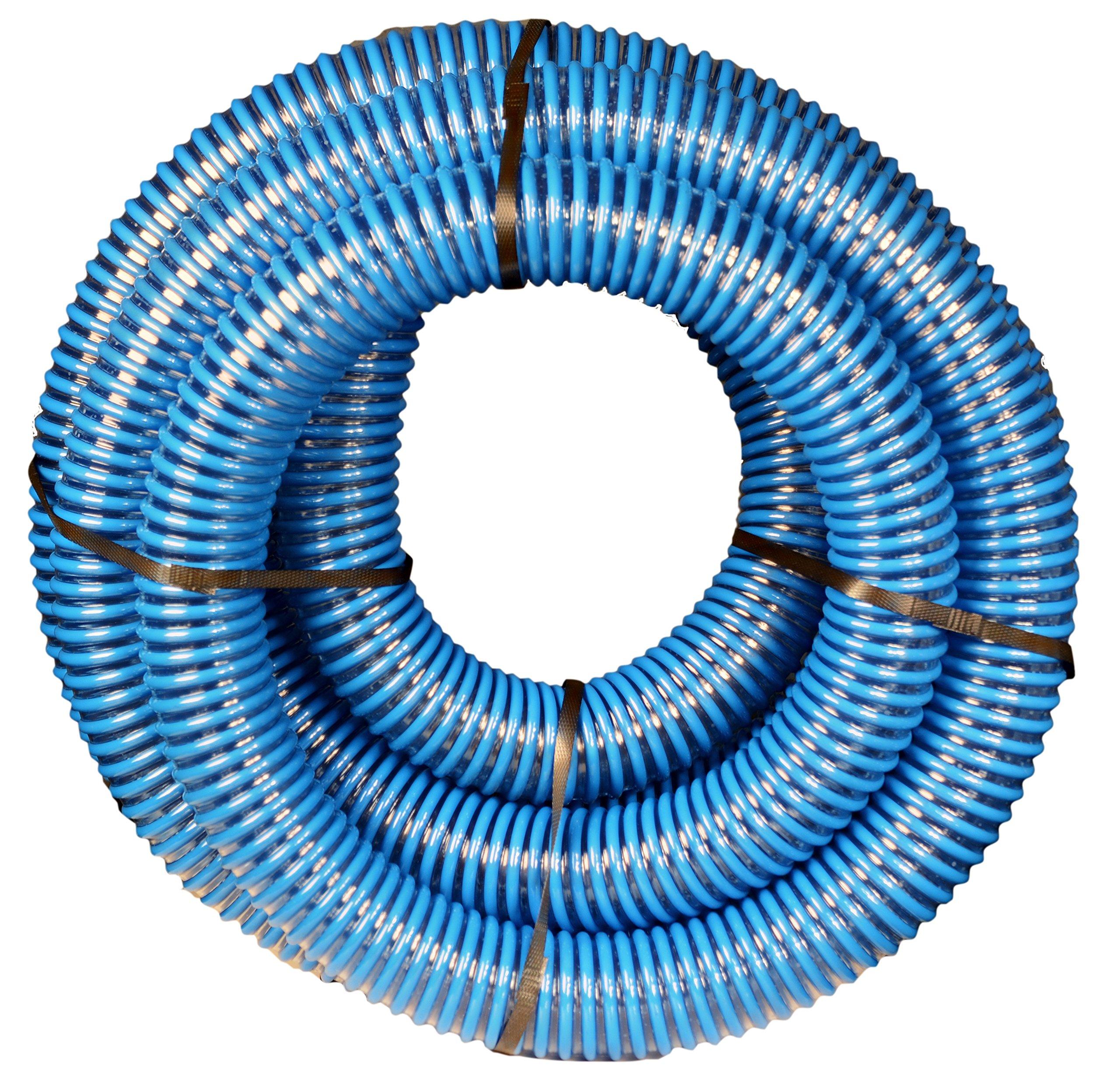 Apache 98106501 PVC Suction Aluminum Short Shank Hose, 40 psi, 2'' Inside Diameter, Blue