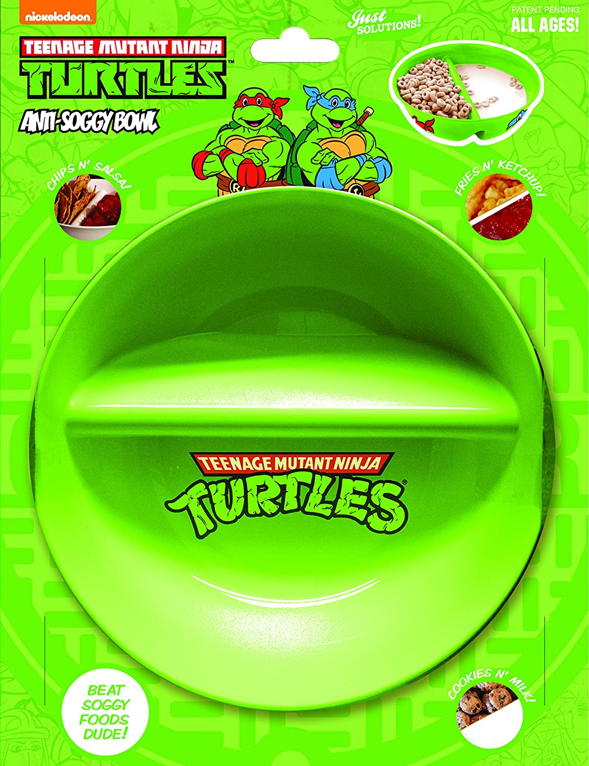 Just Crunch Anti-Soggy Cereal Bowl - Keeps Cereal Fresh and Crunchy | BPA Free | Microwave Safe | For Ice Cream & Topping, Yogurt & Berries, Fries & Ketchup and More – Ninja Turtles
