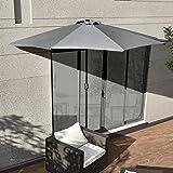 [casa.pro]® Sonnenschirm mit Kurbel Grau halbrund Ø300cm groß Balkon Garten