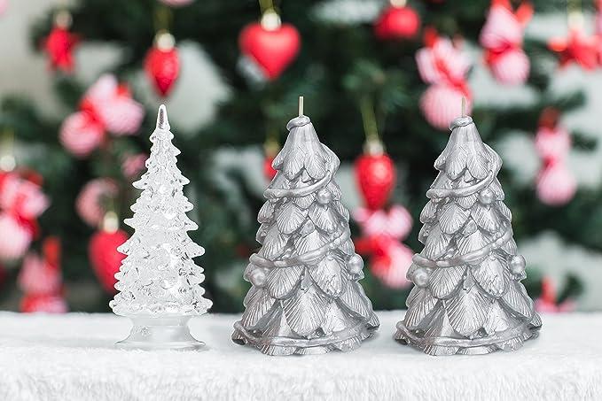 Conjunto de 2 velas en forma de árbol navideño de color plata, duración de 45 horas, peso de 353 g, ideales como decoración para fiestas, Navidad, etc.