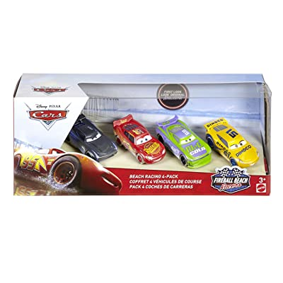 Mattel Disney Cars FTX79 FIRE Ball Beach Racing Car Pack of 4 (H.J. Hollis, Jackson Storm Lightning McQueen Dinoco Cruz Ramirez): Toys & Games