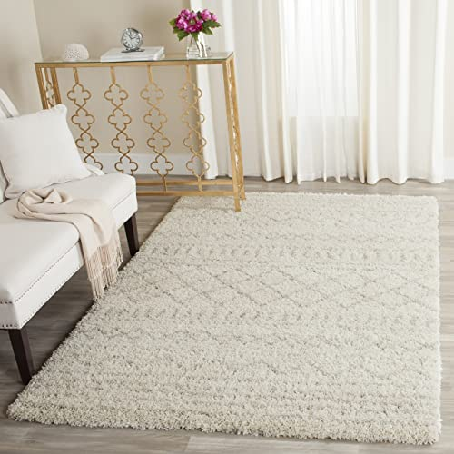 Safavieh Arizona Shag Collection ASG741A Southwestern Ivory and Beige Area Rug 3 x 5