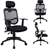 Office Chair No. 0391 Ergonomic Swivel Tilt Chair with Mesh Cover Headrest Black