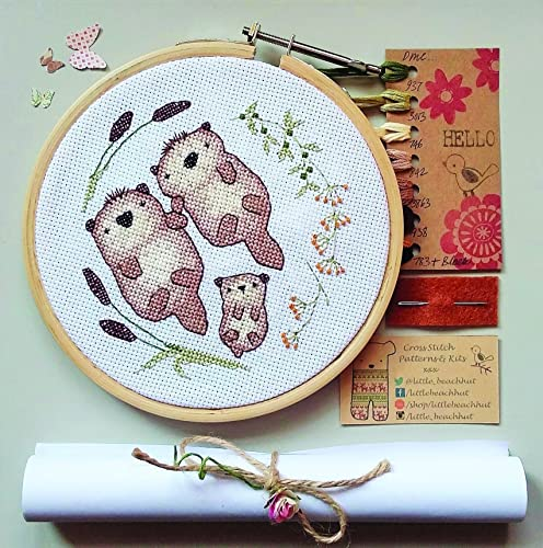 Otter family cross stitch kit embroidery pattern new baby gifts otter family cross stitch kit embroidery pattern new baby gifts negle Choice Image