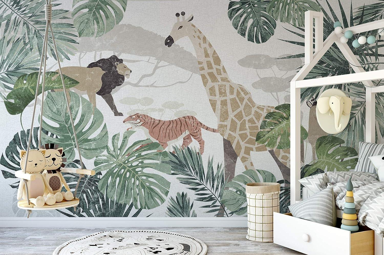 Amazon.com: Murwall Kids Forest Wallpaper Wild Animal Wall Art