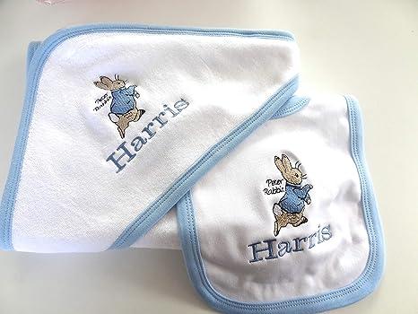 Juego de toallas personalizadas con capucha de Peter Rabbit y BIB – Bonito regalo bordado –