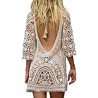 2f0695ffa2492 Jeasona Women s Bathing Suit Cover Up Crochet Lace Bikini Swimsuit Dress