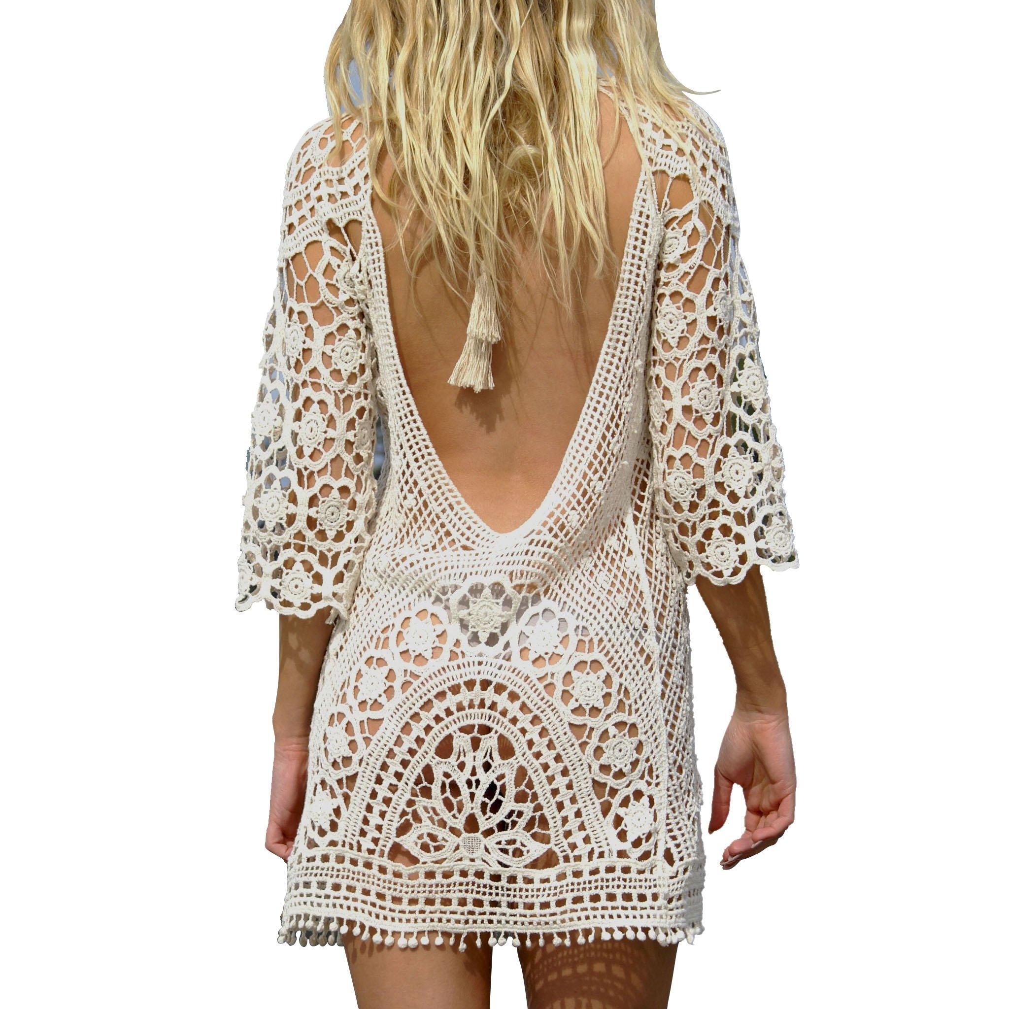 Jeasona Women's Bathing Suit Cover up Crochet Lace Bikini Swimsuit Dress (White, M)