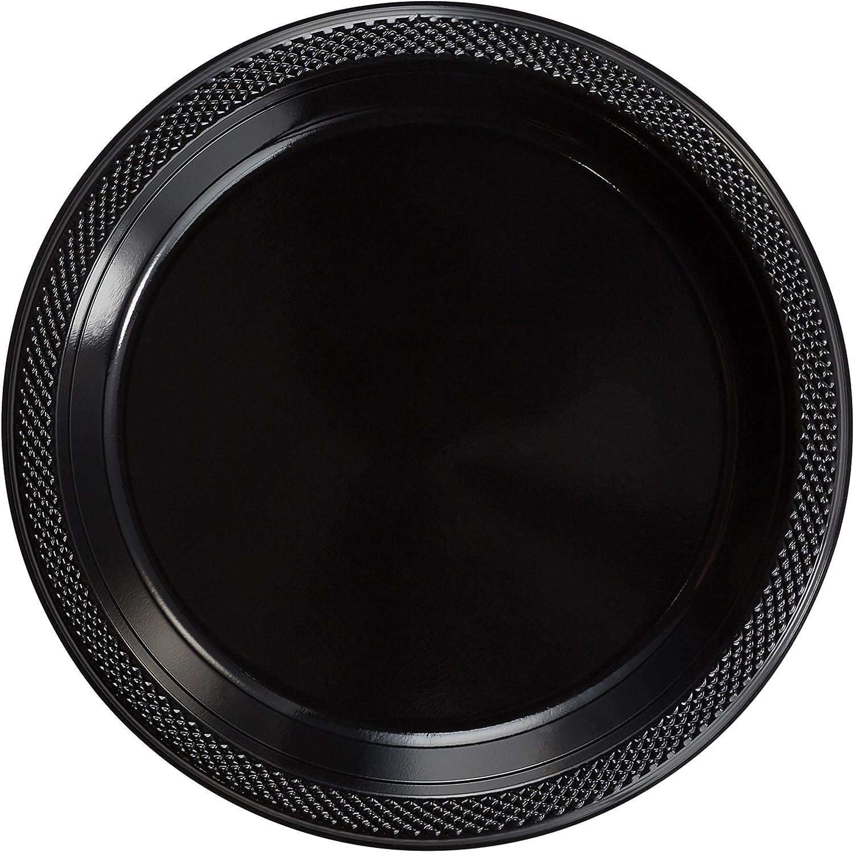 Exquisite 9 Inch. Black plastic plates - Solid Color Disposable Plates - 100 Count