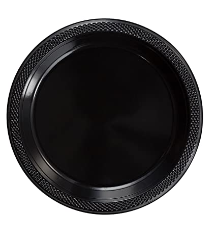 Exquisite 9 Inch. Black plastic plates - Solid Color Disposable Plates - 100 Count  sc 1 st  Amazon.com & Amazon.com: Exquisite 9 Inch. Black plastic plates - Solid Color ...
