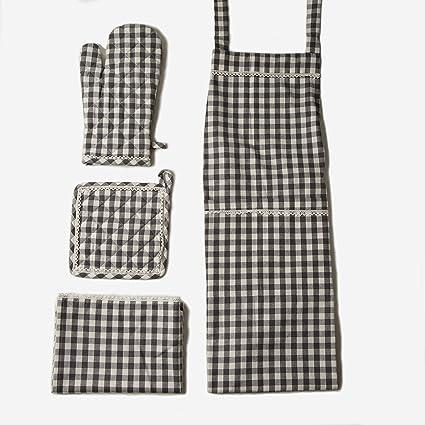 Kitchen Linen Set, 100% Cotton Kitchen Combo, Set of 5, Essential for all  Kitchens, Apron, Oven Mitt, Pot Holder, Dish Towel