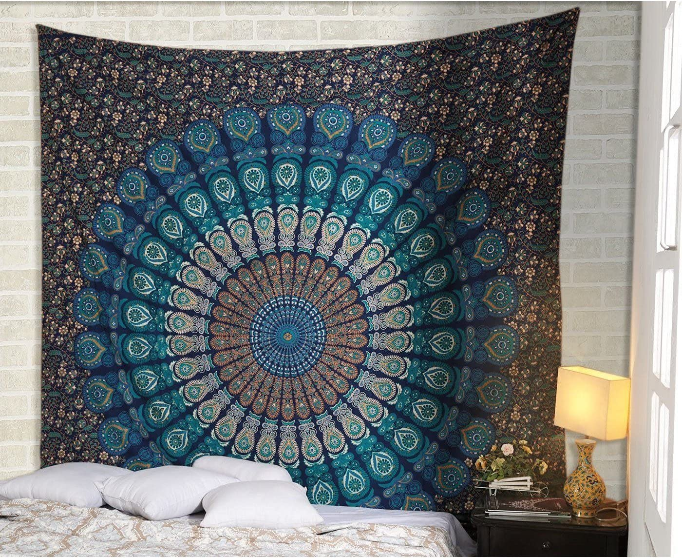 Handmade Mandala Tapestry Gypsy Hippie Bedding Bohemian Ethnic 54 X 84 Inches Large Queen Size Blue
