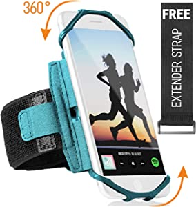 360° Rotatable Cell Phone Arm Holder for iPhone XR, XS Max, 8, 8 Plus, 7, 6, Samsung Galaxy A8, S9, S8, S6 Edge, Note, LG; Sports Running Armband for Men & Women with Free Extender Strap (Turquoise)