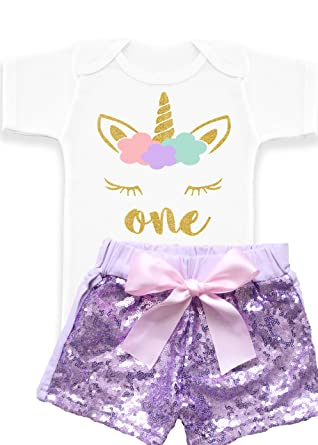 eaffee08 Nyla Marie Kids Unicorn 1st Birthday Baby Girl Sequin Shorts First Birthday  Outfit One Year Old Unicorn Shirt - Multi - 12-18 Months: Amazon.co.uk:  Clothing