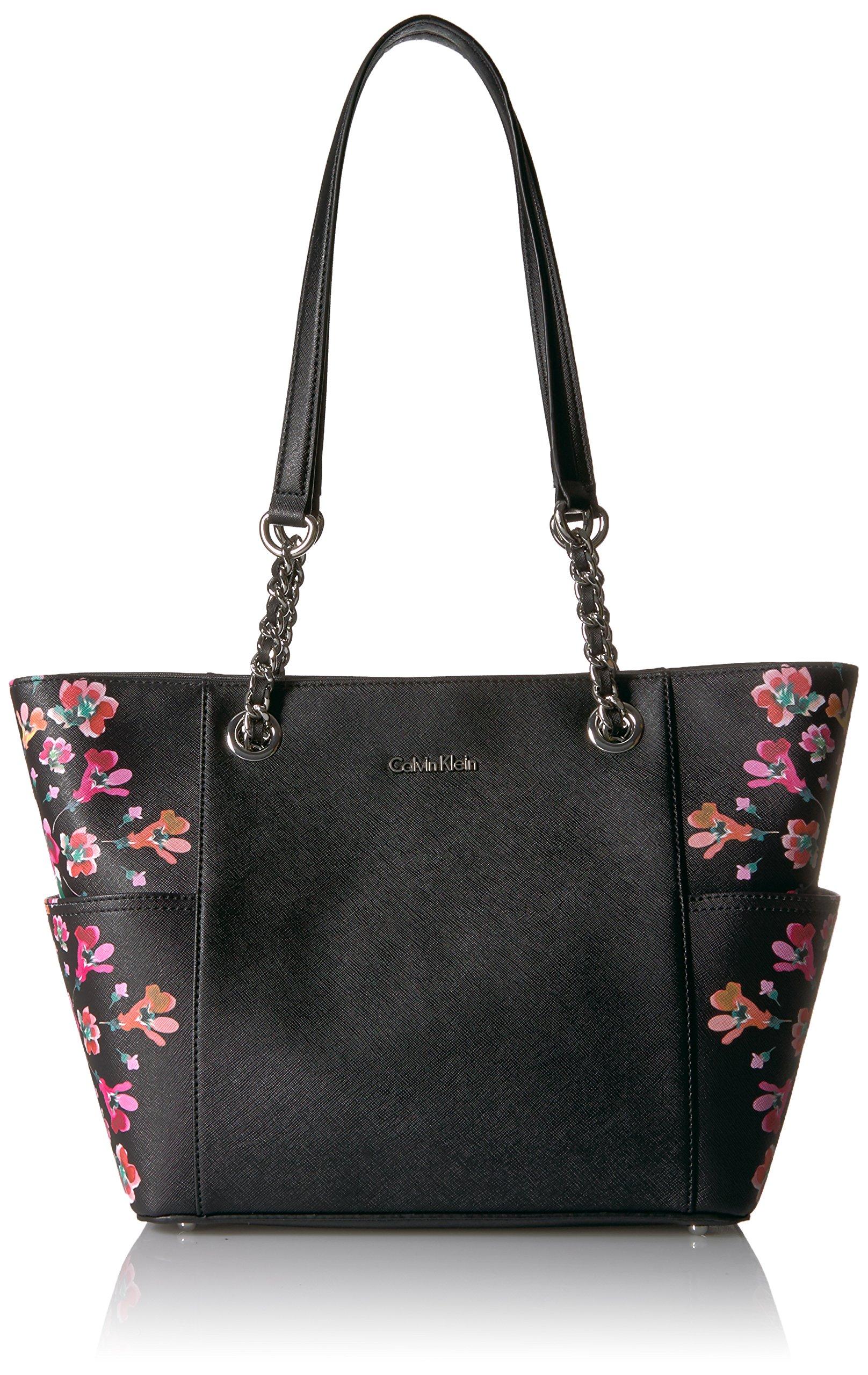 Calvin Klein Key Item Floral Printed Saffiano Chain Tote