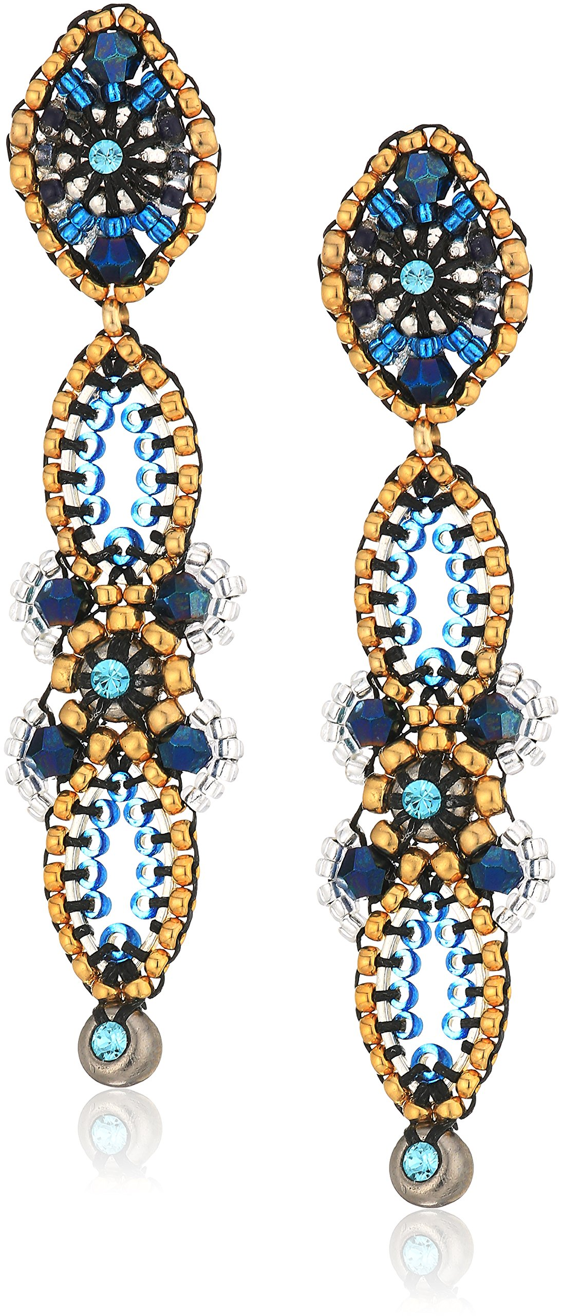 Miguel Ases Vertical Linear Fleur Petals Swarovski Cluster Post Drop Earrings, Egyptian Blue by Miguel Ases (Image #1)