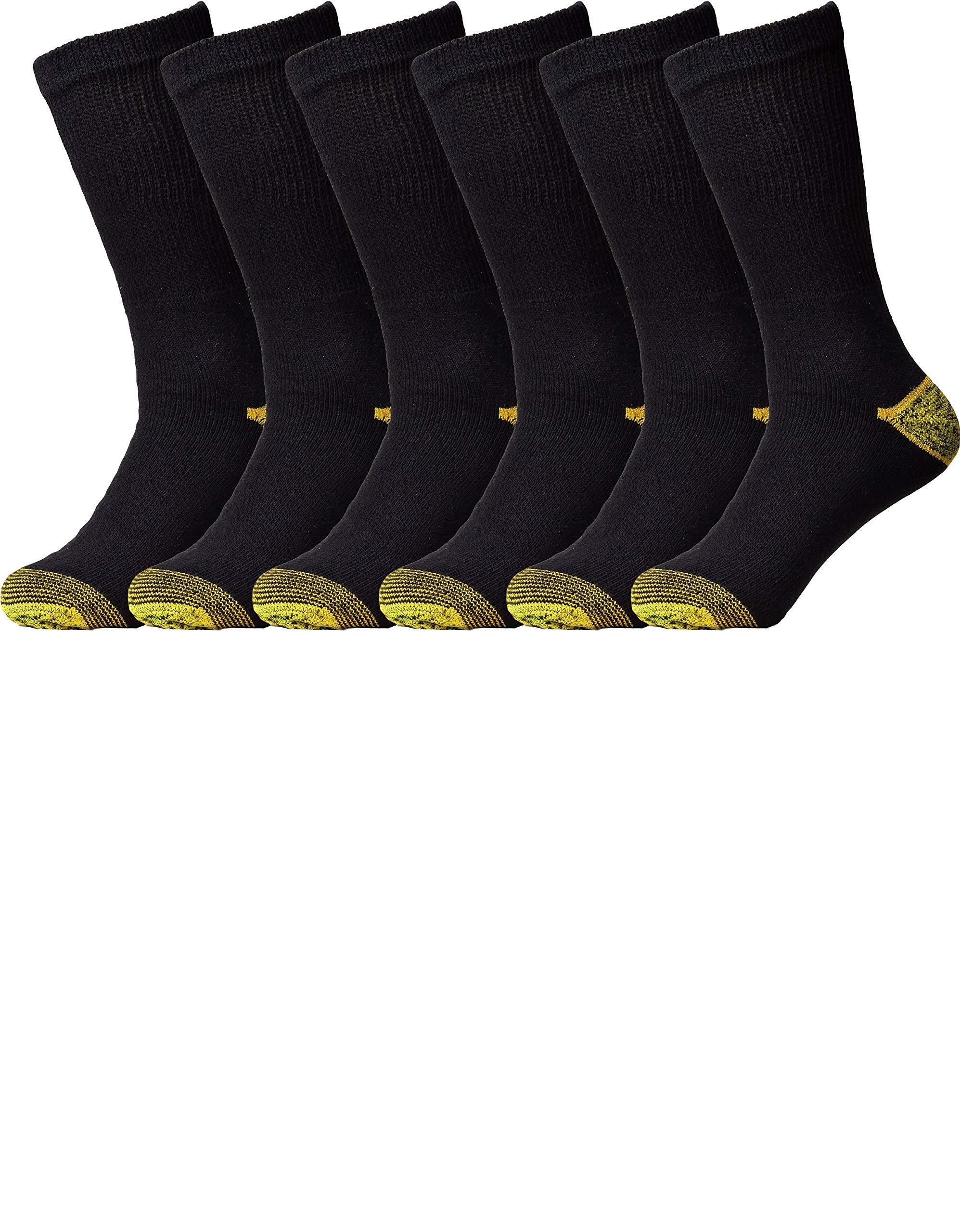 Mens Crew Socks 6 Pack All-Season Cotton Crew Athletic Work Socks (10-13, 6 Pack Black)
