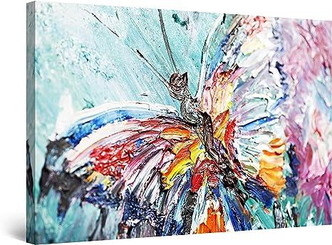 Startonight Impression Sur Toile Peinture Papillon Colore Abstrait Tableau Animaux Encadree Decoration Murale Salon Moderne Image Sur Toile 80 X 120 Cm Amazon Fr Cuisine Maison