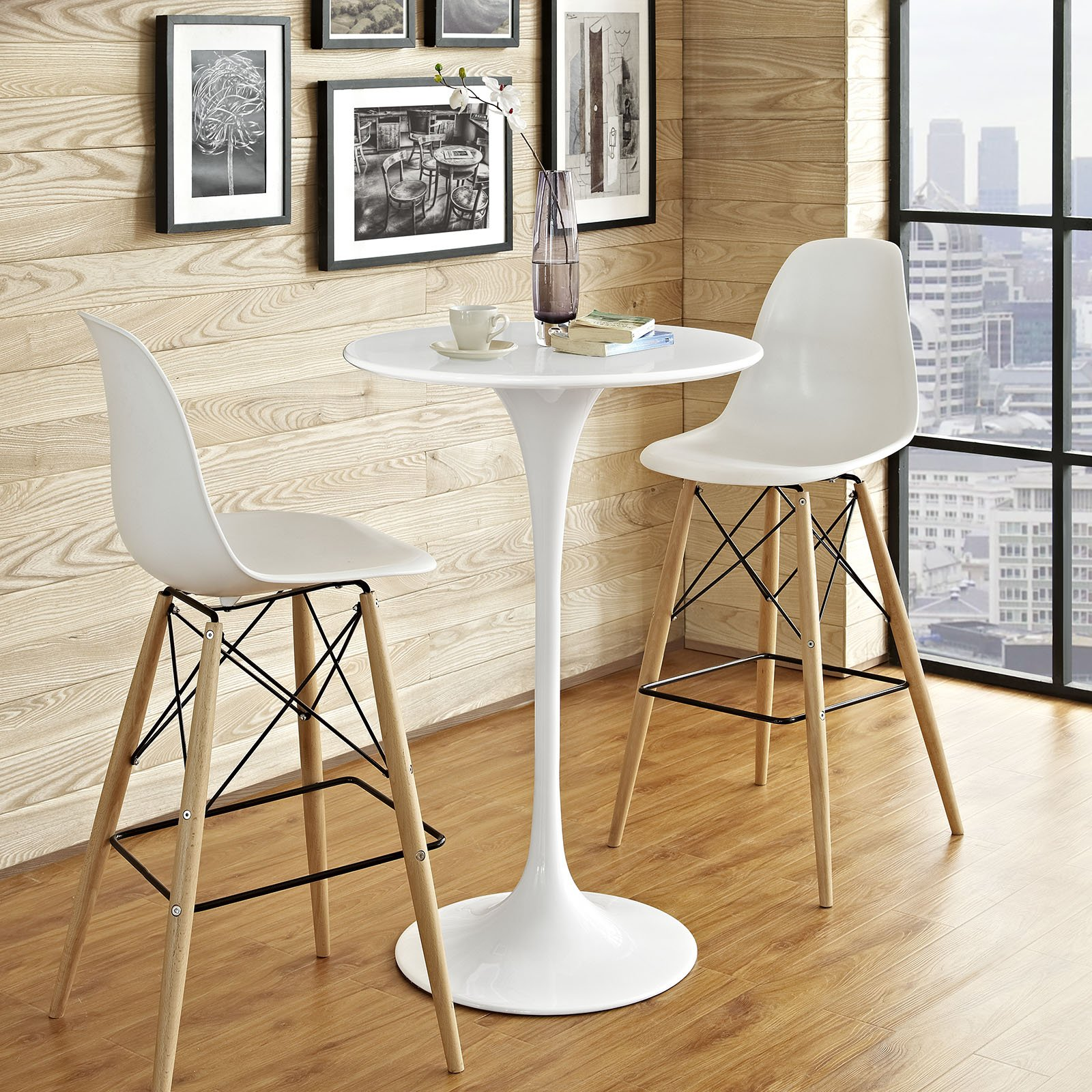 Modway Lippa 28'' Mid-Century Modern Bar Table with Round Top and Pedestal Base in White by Modway