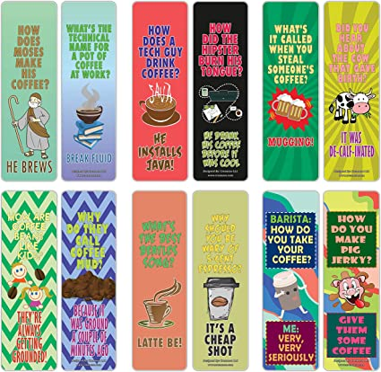 Creanoso Coffee Puns Funny Jokes Bookmarks 12 Pack Six Assorted Quality Bookmarker Cards Set Premium Gift Token Giveaways For Boys Girls Men Women Adults Cool Book Page Clippers Amazon Co Uk