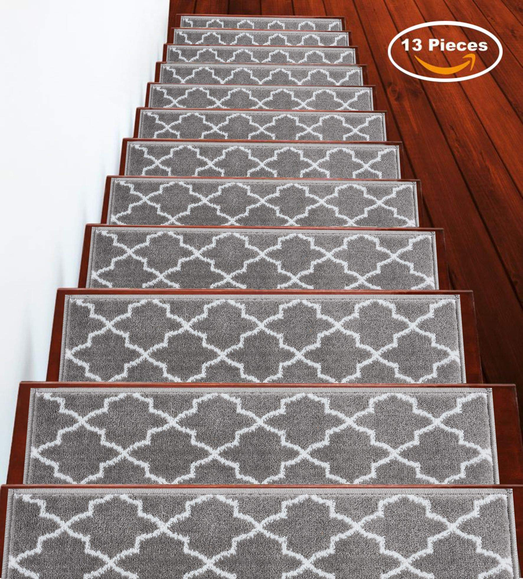 Stair Treads 9 inch by 28 inch Trellisville Collection Contemporary, Cozy, Vibrant and Soft Stair Treads, Gray & White, Pack of 13 [100% Polypropylene] by Sussexhome