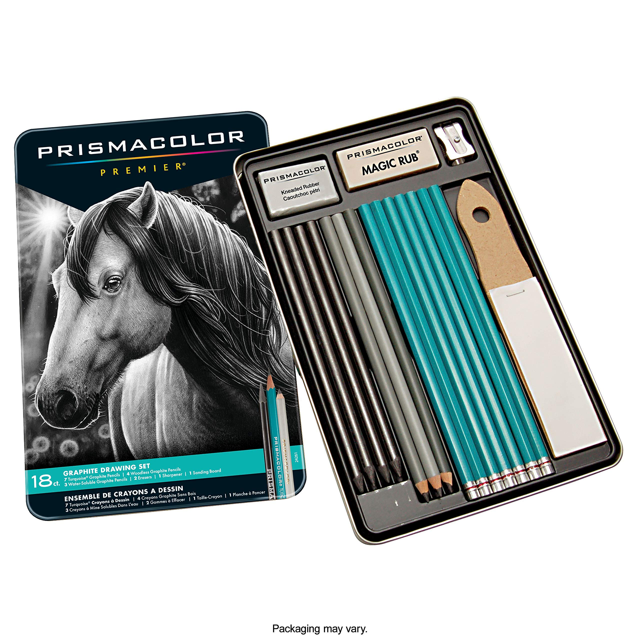 Prismacolor 24261 Premier Graphite Drawing Pencils with Erasers & Sharpeners, 18-Piece Set by PRISMACOLOR
