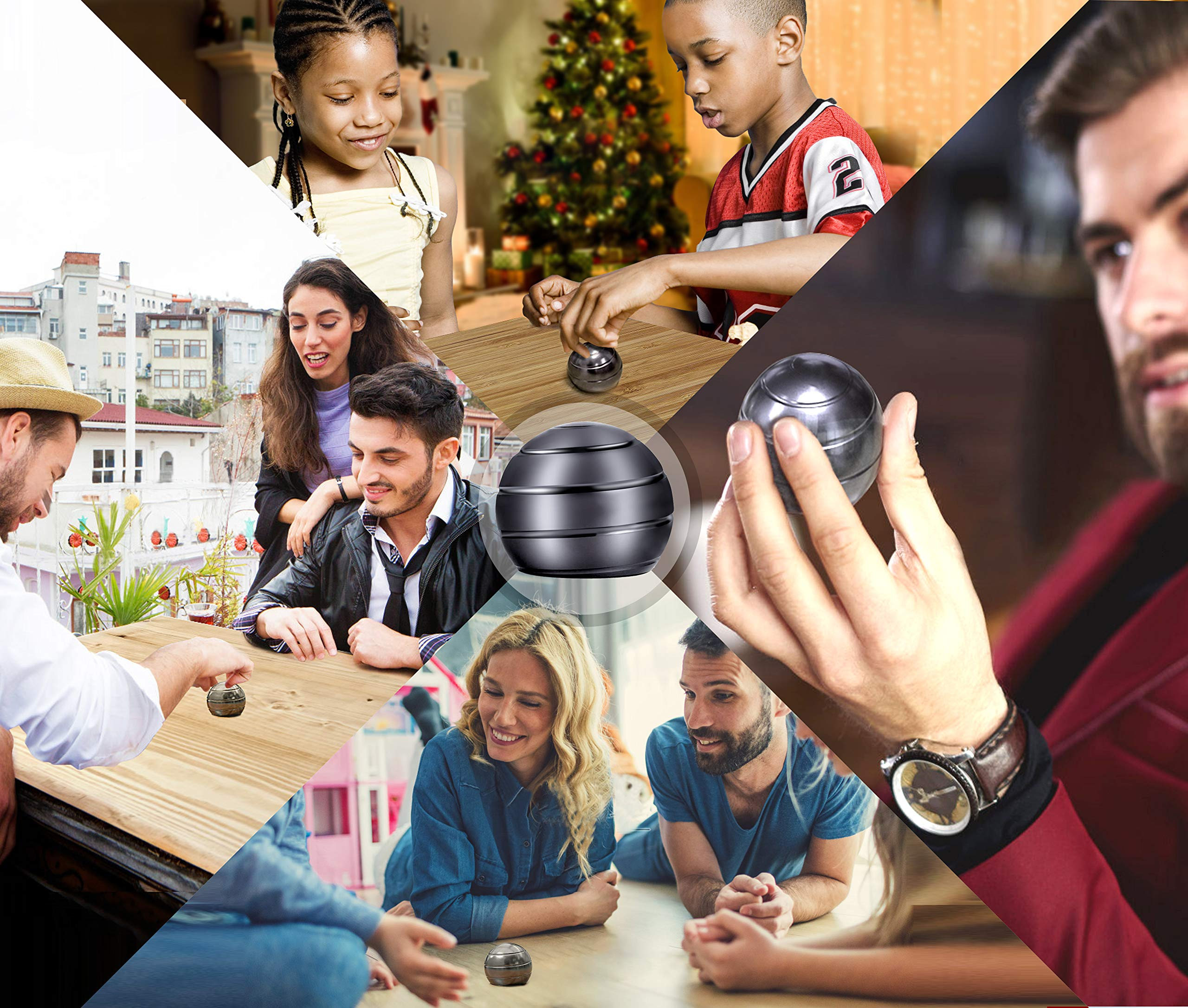 Mountain Giant Kinetic Desk Toy with Full Body Visual Illusion Ball Decompression Ball Fidget Stress Anxiety Relieves Aluminium Decoration Ball for Kids and Adults by Mountain Giant (Image #5)