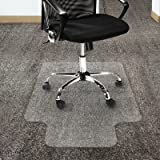 """Office Marshal Polycarbonate Chair Mat with Lip for High Pile Carpet Floors, 36"""" x 48"""" - Multiple Sizes - Clear, Studded, Carpet Floor Protection Mat"""