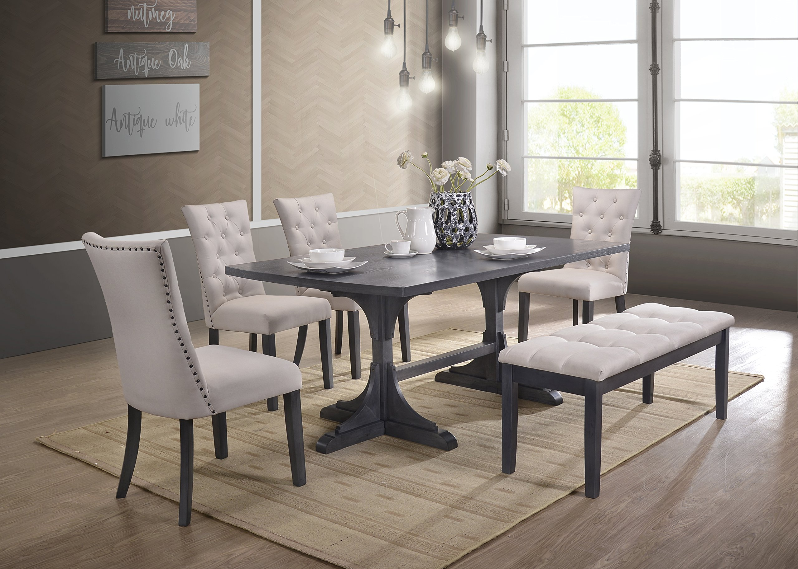 Best Quality Furniture Light Gray Linen Look Upholstered 6 Piece Dining Set with Bench by Best Quality