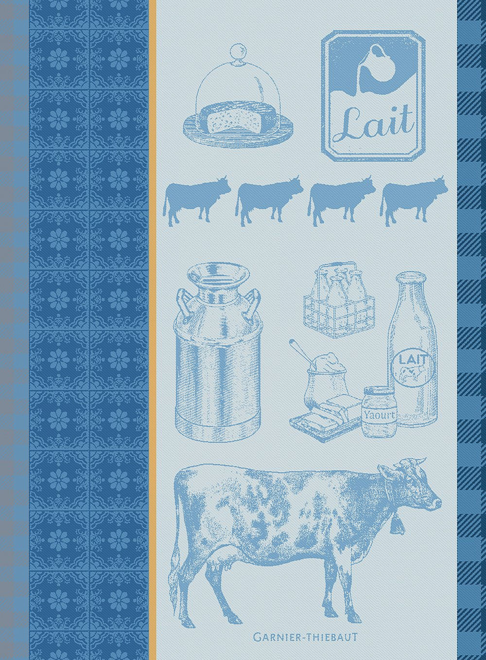 Garnier Thiebaut, Le Vache et Le Lait Bleu (Cow and Milk, Blue) French Jacquard Kitchen Towel, 100 Percent Cotton, 22 Inches x 30 Inches