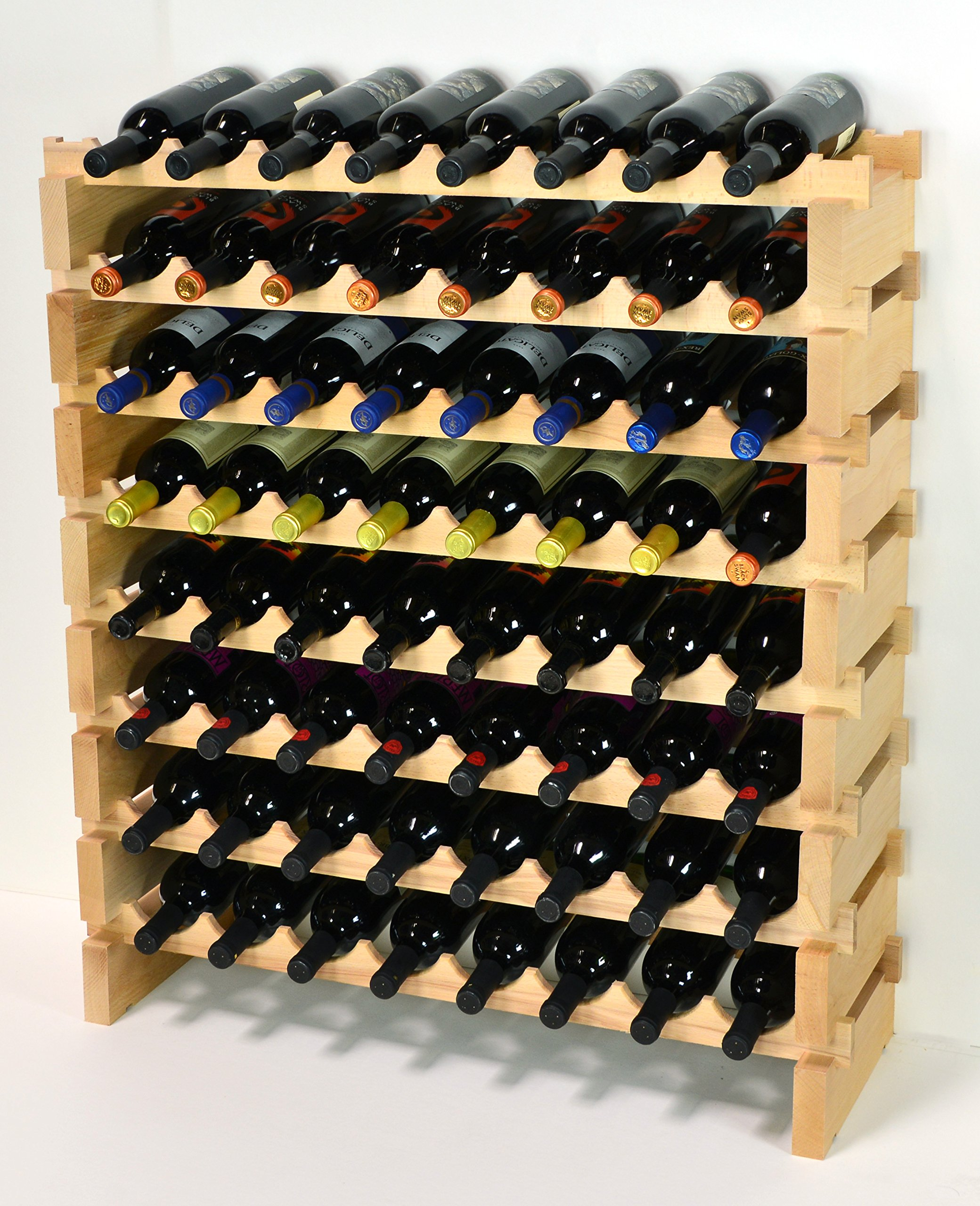 Modular Wine Rack Beechwood 32-96 Bottle Capacity 8 Bottles Across up to 12 Rows Newest Improved Model (64 Bottles - 8 Rows) by sfDisplay.com,LLC.