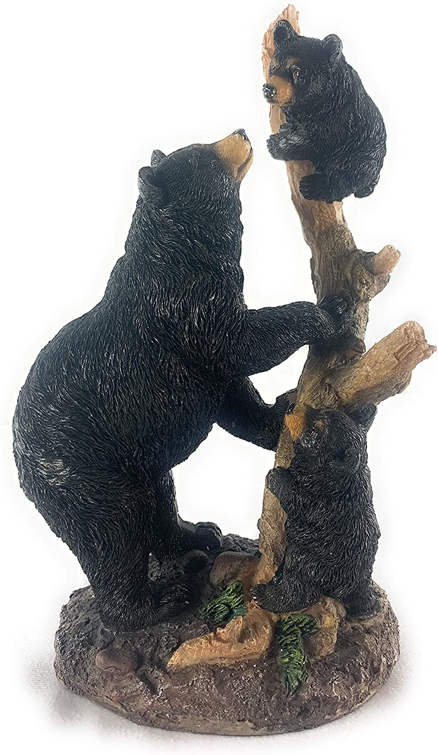 GSC Mother Bear Playing with Cubs on Tree Decor Collectible Figurine Statue, 10.5x5.5X4.25 inches