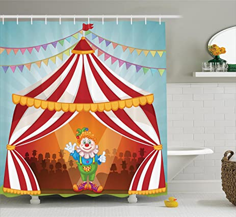 Ambesonne Circus Decor Collection Cartoon Clown in Circus Tent Cheerful Costume Funny Entertainer Joyful Design & Amazon.com: Ambesonne Circus Decor Collection Cartoon Clown in ...