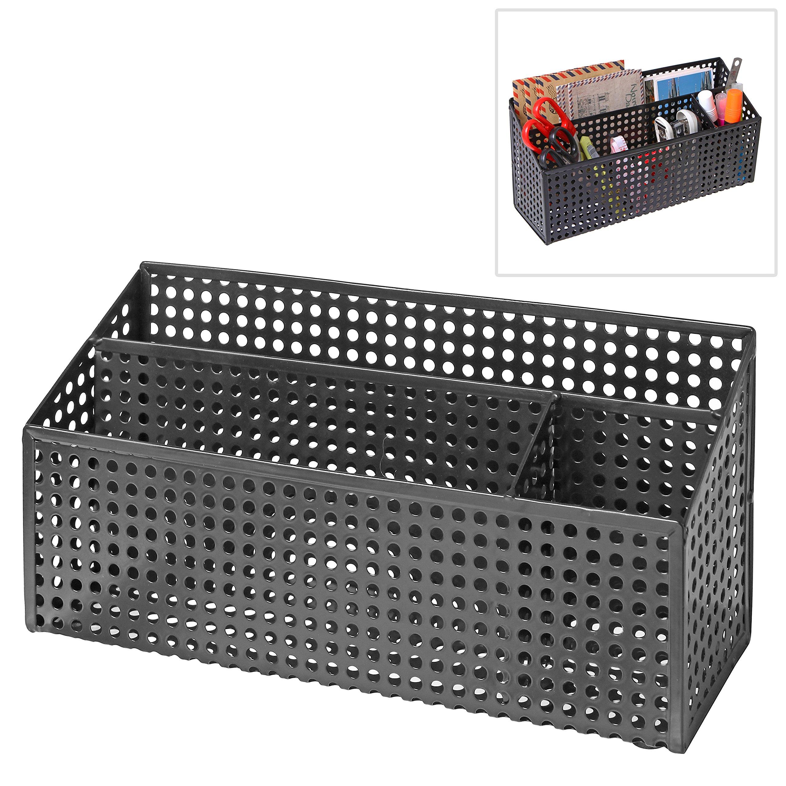 3-Compartment Modern Black Metal Desk Office Supply Holder & Mail Sorter w/ Perforated Design