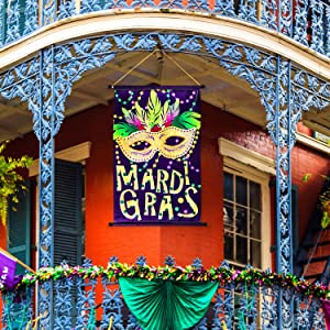 Mardi Gras Door Banner Mardi Gras House Flag Mask Welcome Banner for Indoor/Outdoor Decoration Mardi Gras Garden Flag Masquerade Party Mask Beads Holiday, 18.5 x 12.59 Inch (Purple Mardi Gras Sign)