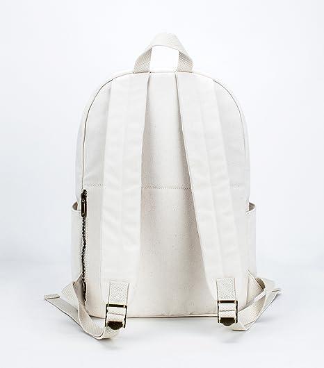 Amazon.com  Karitco Basic Plain Canvas Laptop Backpack with Brass Zipper (Canvas  Beige)  Clothing 9e6a089426327