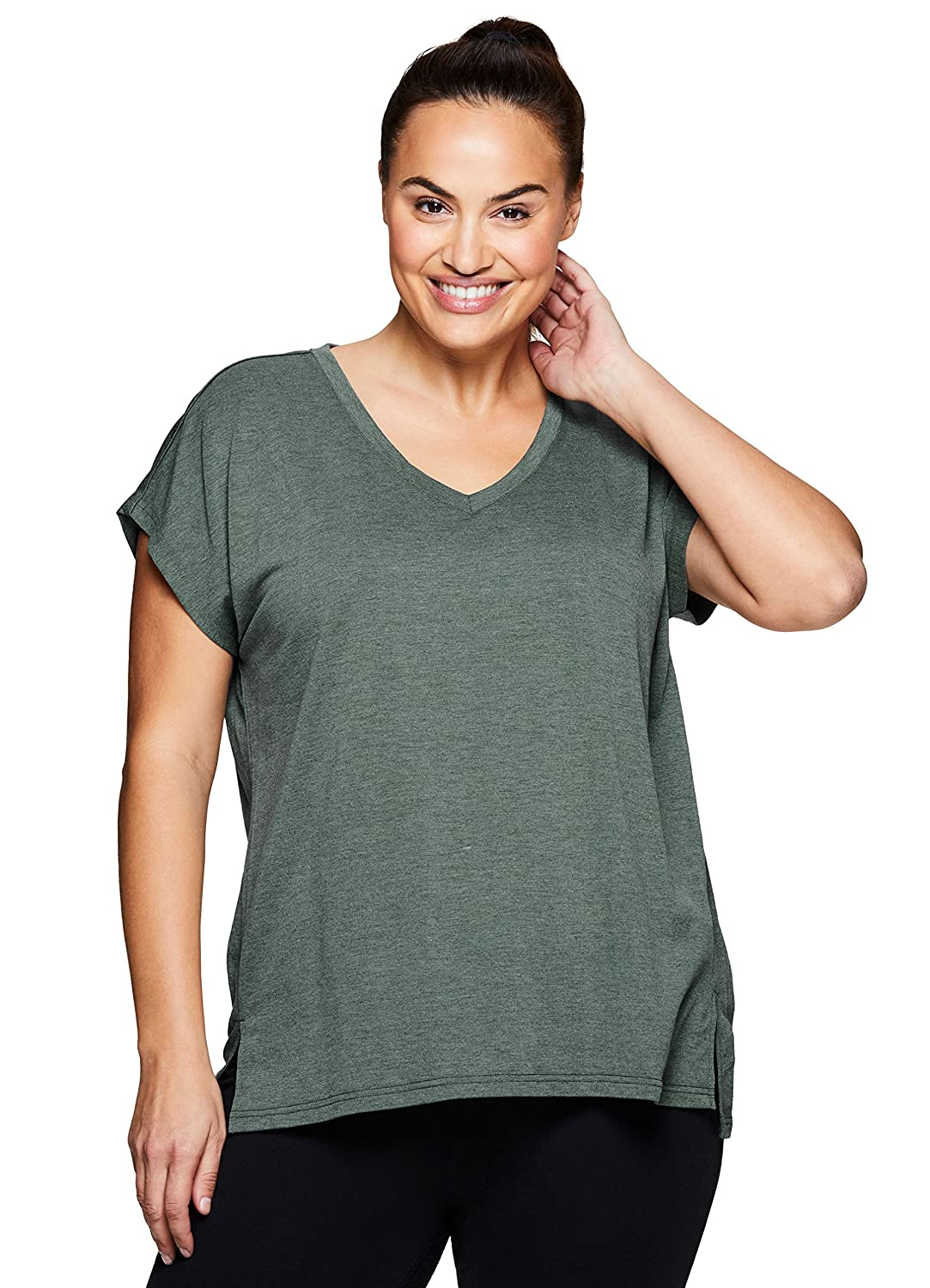 643aa73f53 Simplistic and soft this plus women\'s RBX Active short sleeve top will  become your new favorite essential top. Super soft fabric feels good  against your ...