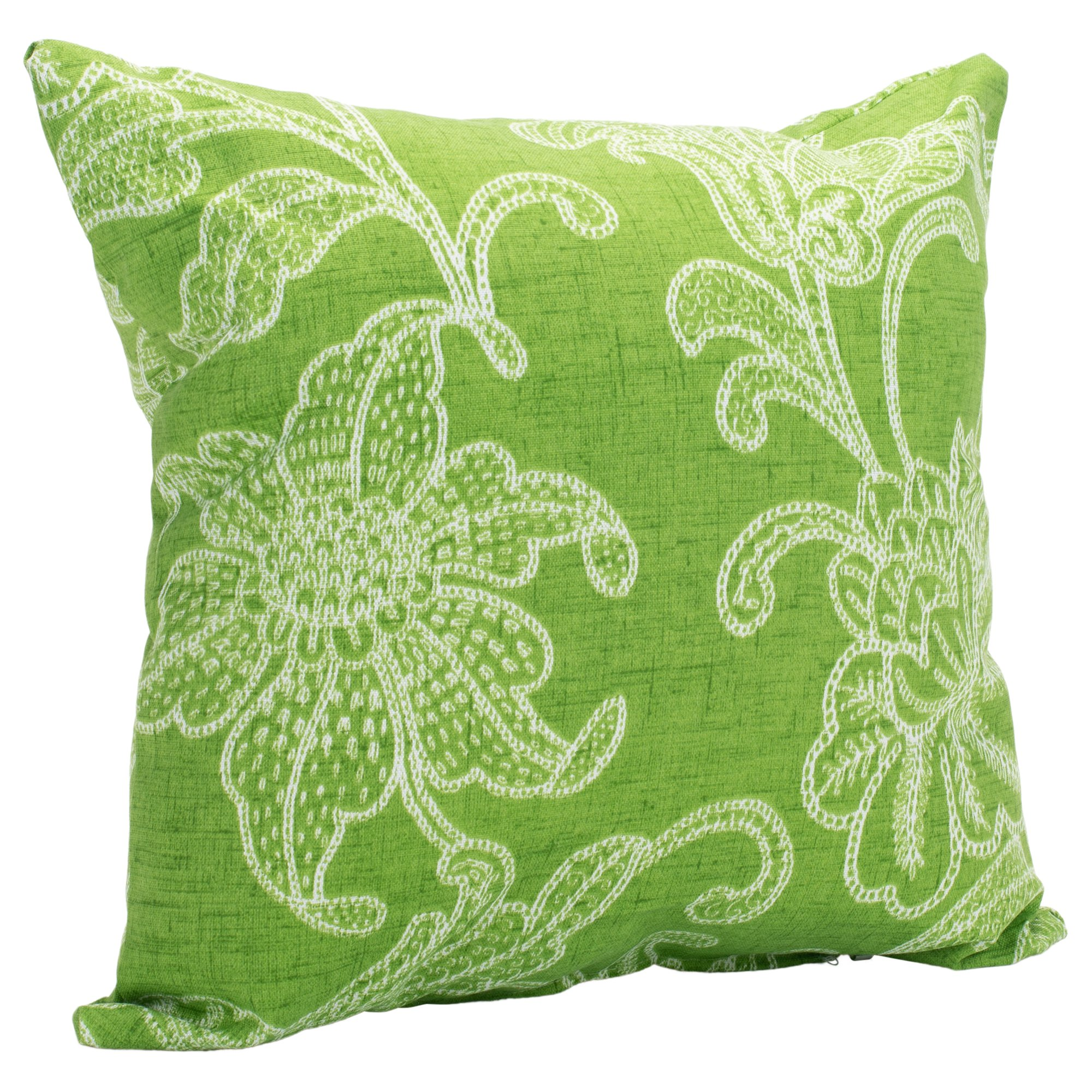 Ellie Citrus Lime Green Floral 16 x 16 Indoor Outdoor Throw Pillow